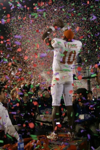 Vince Young of Texas celebrating after the 2006 Rose Bowl